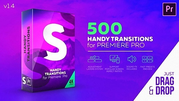 Gói 500 Handy Seamless Transitions cho Premiere Pro