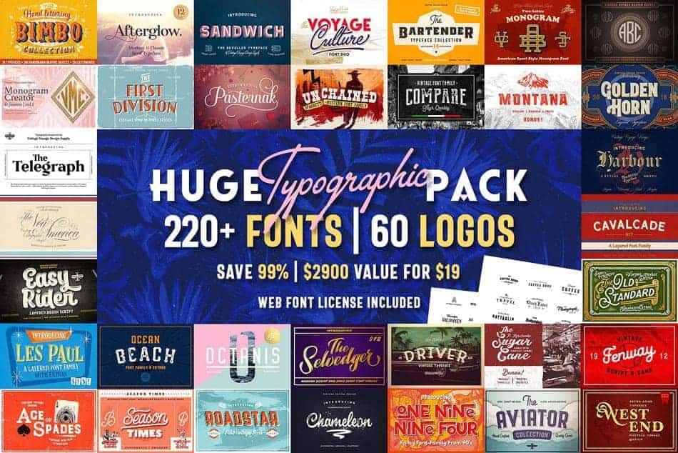 gói Typographic + 60 Logos giá 2900$