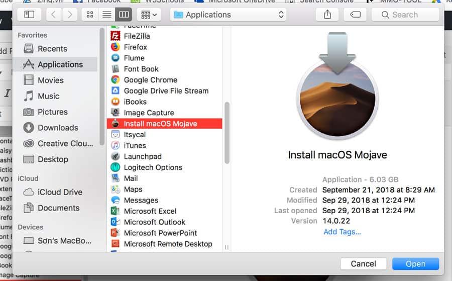 cài macOS mojave lên máy Mac không được hỗ trợ hình 3