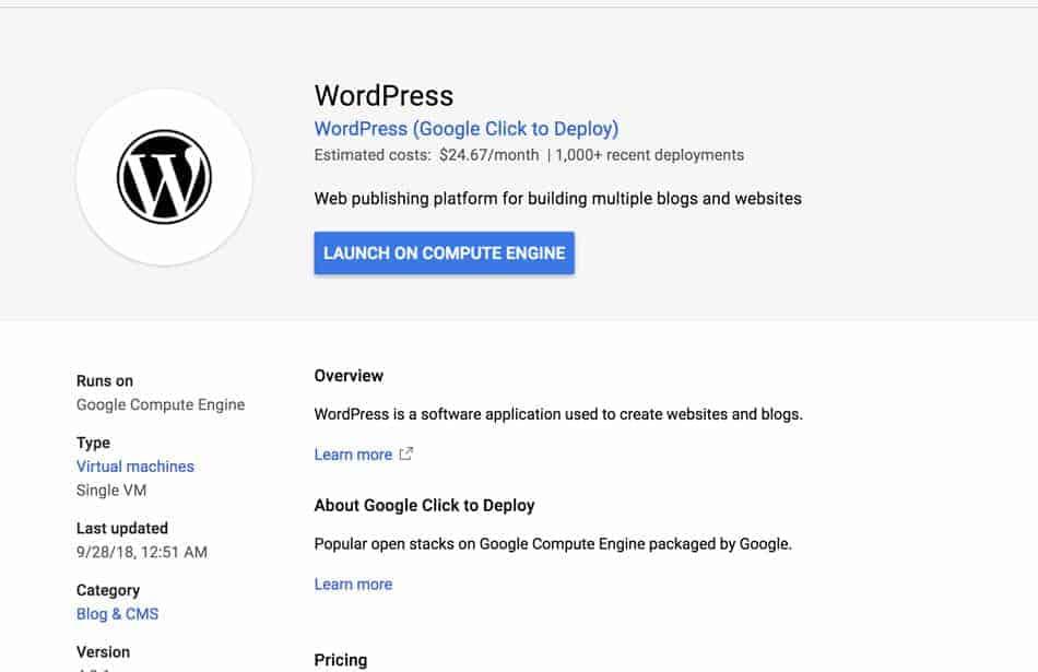 Cách cài Wordpress trên Google Cloud Platform nhanh nhất 1