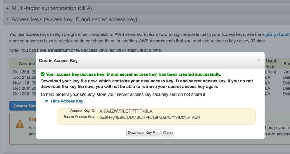 Access Key và Secret Key