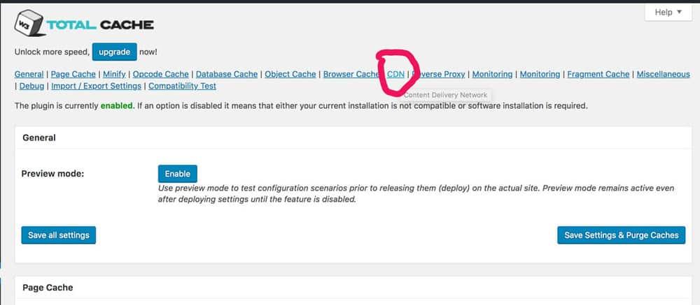 tab CDN w3 total cache