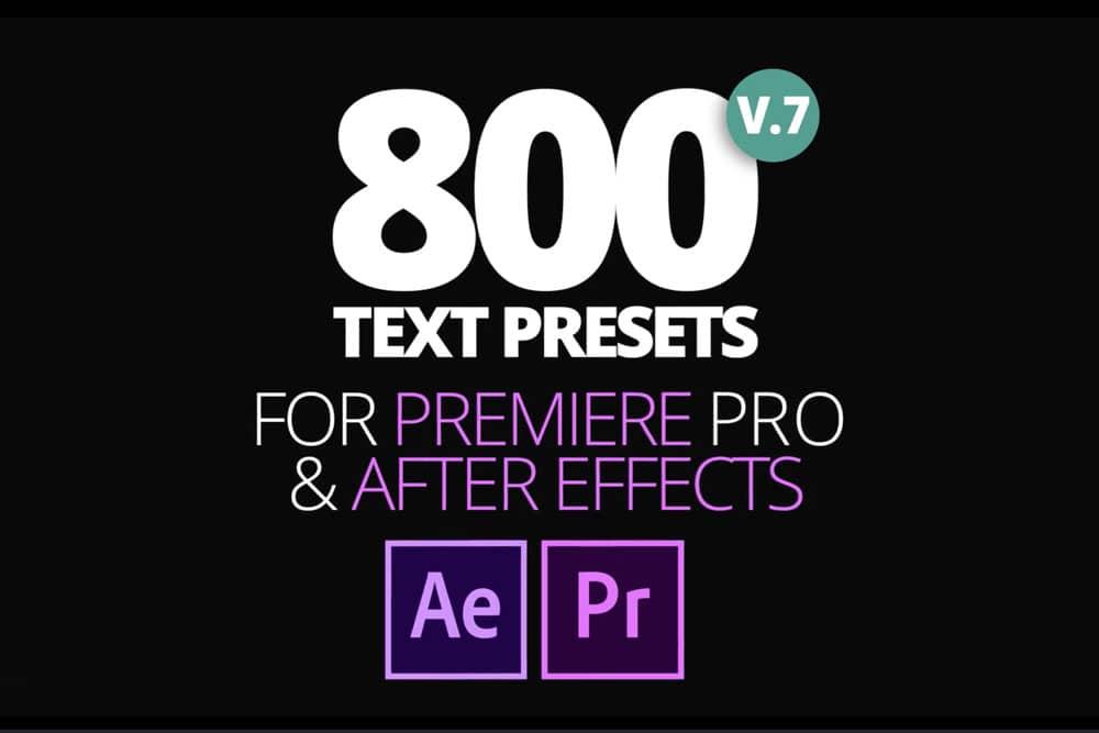 800 Text Presets cho Premiere Pro