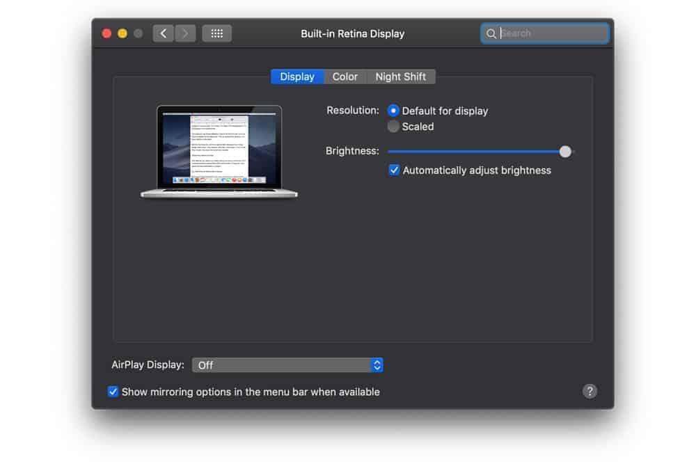 giảm độ sáng màn hình Mac