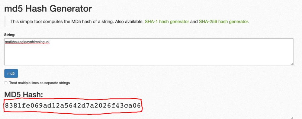 tạo mật khẩu MD5
