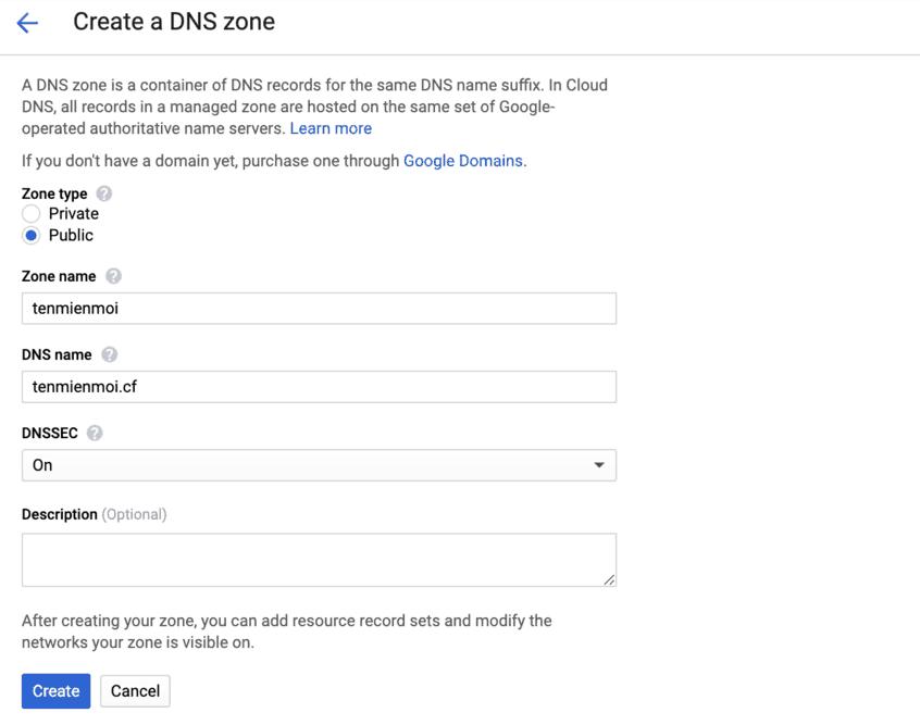 create a DNS zone