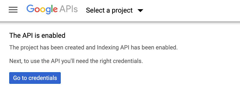 index API đã kích hoạt