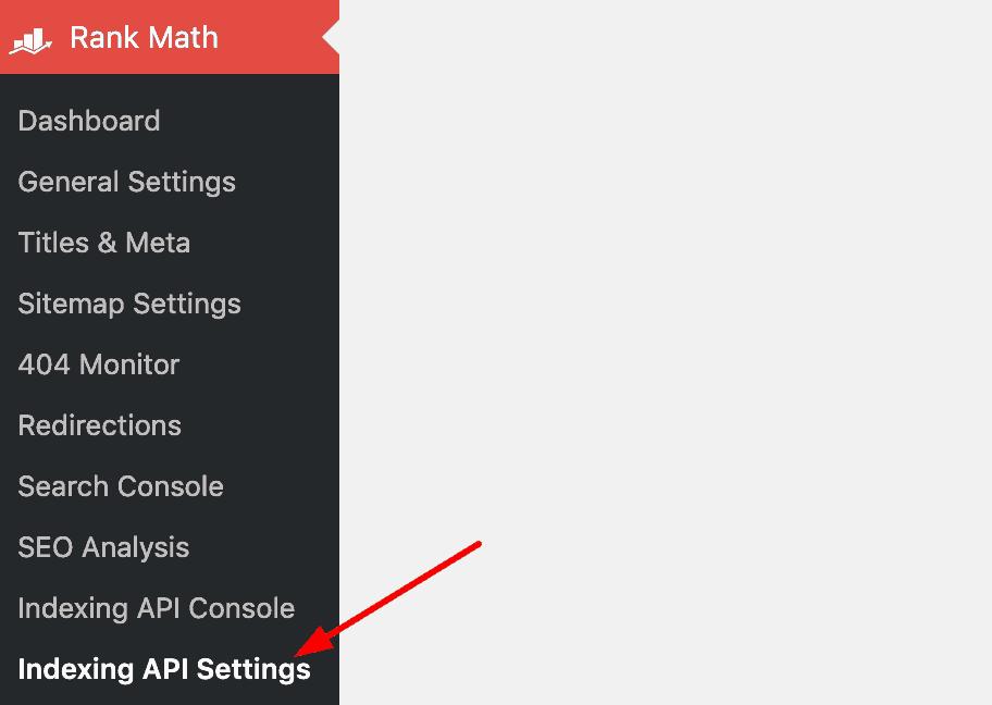index API settings