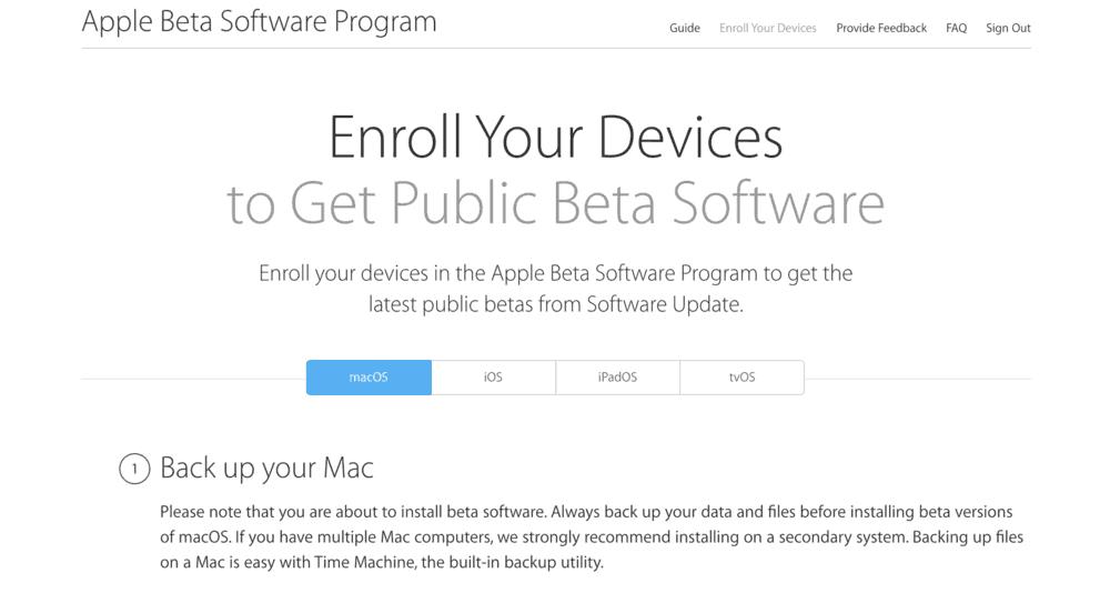 back up your mac -Cách cài đặt macOS 10.15 Catalina Public Beta
