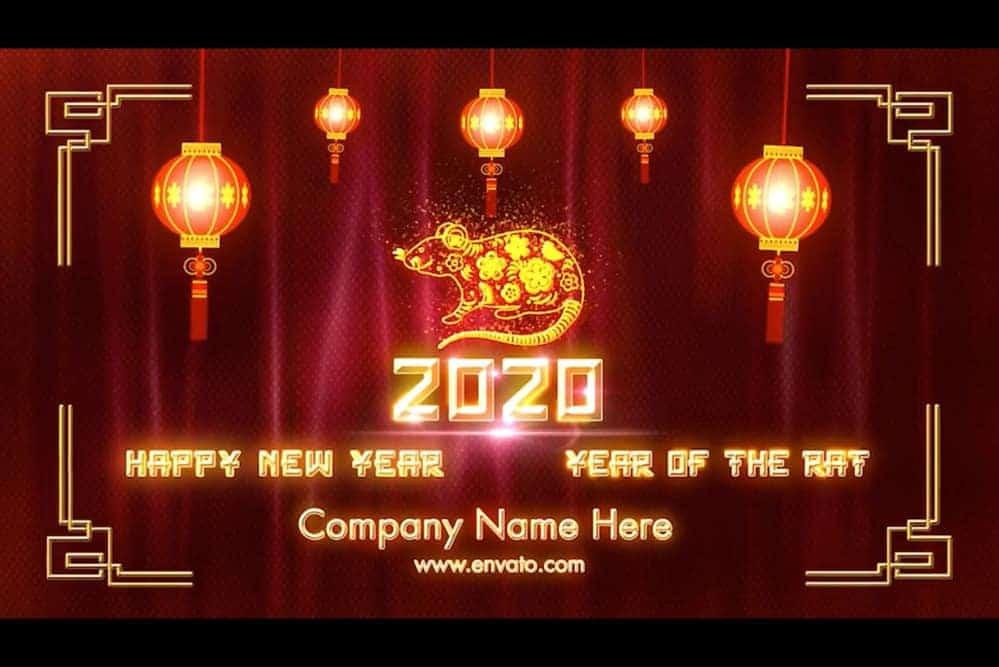 Template chúc mừng năm mới Canh tý 2020 cho Premier Pro