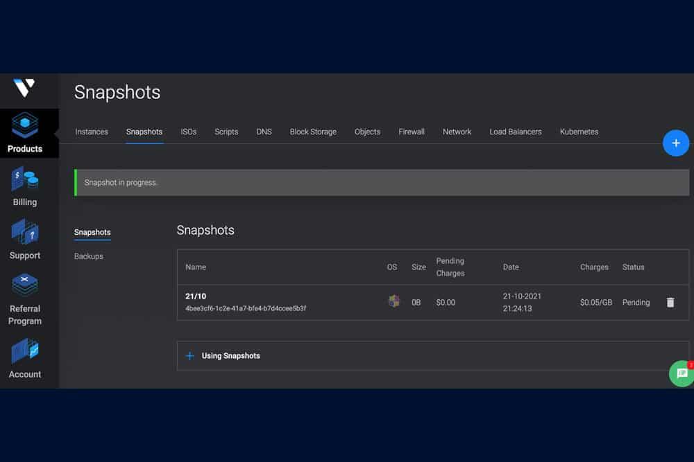 Vultr thu phí lưu trữ Snapshot từ tháng 10